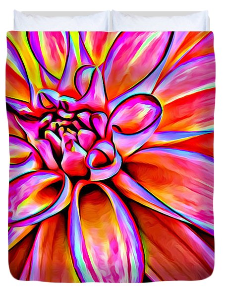 Pop Art Dahlia Duvet Cover