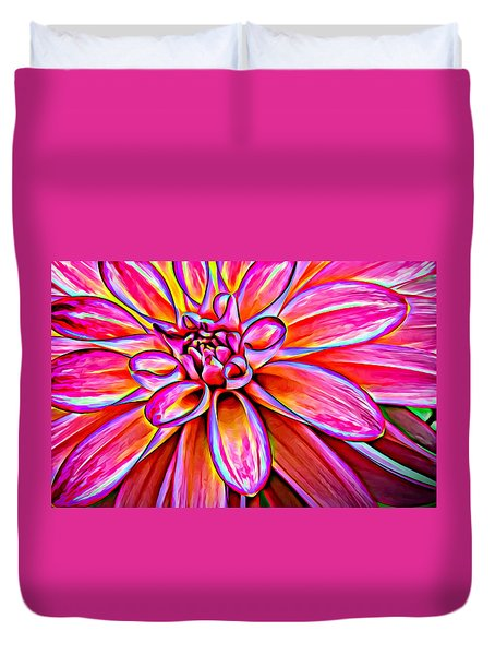 Pop Art Dahlia Duvet Cover