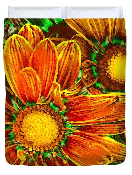 Pop Art Daisies 8 Duvet Cover by Amy Vangsgard