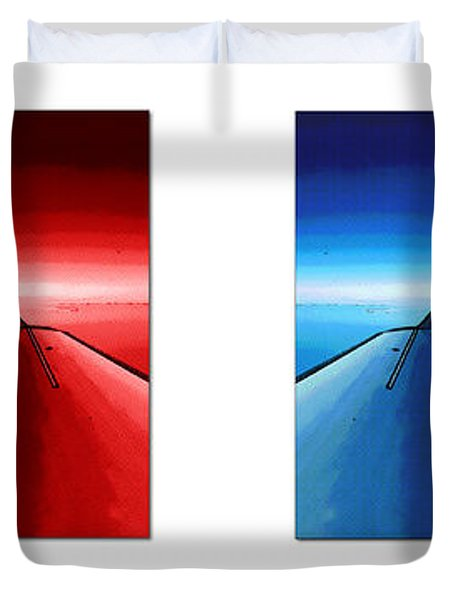 Duvet Cover featuring the photograph Red Blue Jet Pop Art Planes  by R Muirhead Art