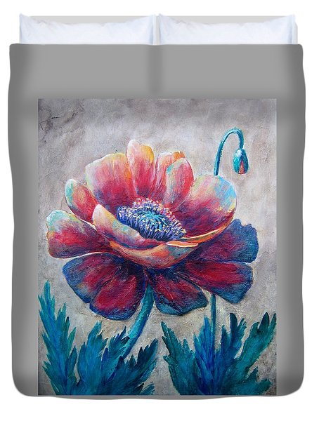 Duvet Cover featuring the painting Pop-pop-poppy by Suzanne Theis