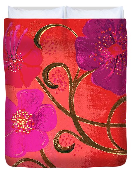 Pop Spring Purple Flowers Duvet Cover