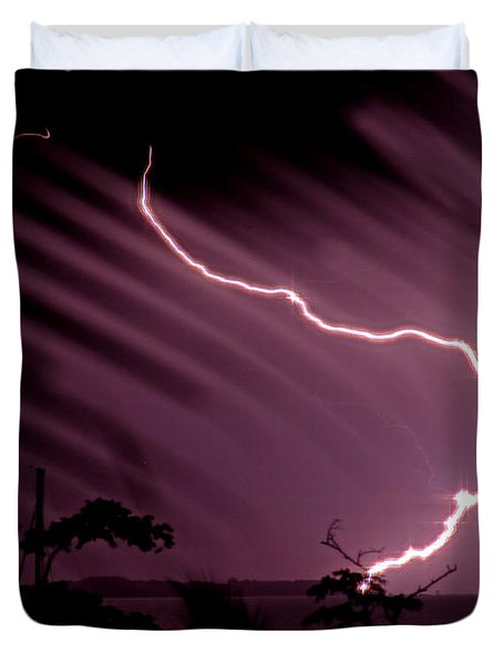 Popa Island Lightning Duvet Cover by Bob Hislop