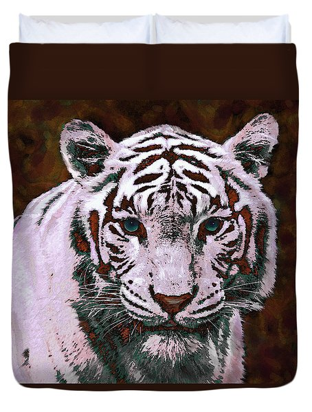 Popart White Tiger- Larger Duvet Cover by Jane Schnetlage