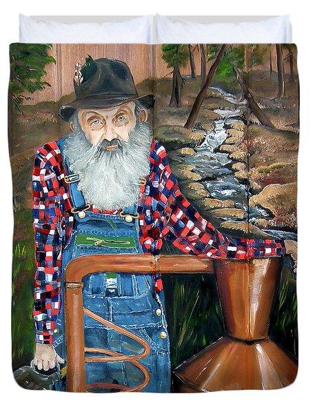 Duvet Cover featuring the painting Popcorn Sutton - Bootlegger - Still by Jan Dappen