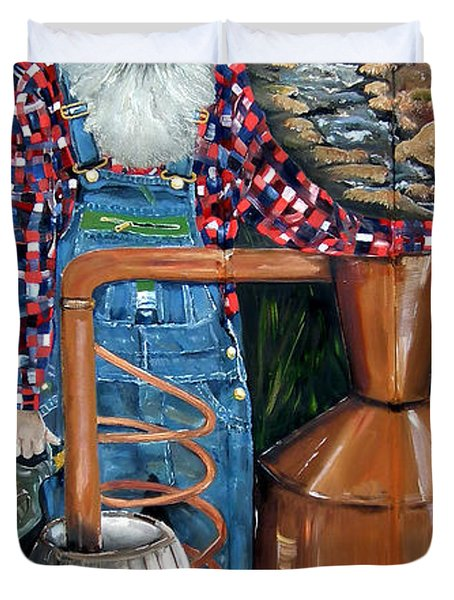 Duvet Cover featuring the painting Popcorn Sutton - Moonshiner - Redneck by Jan Dappen