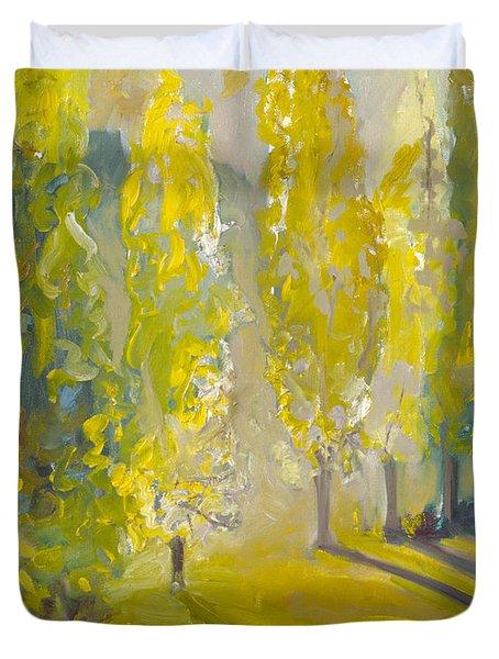 Poplars In The Morning Duvet Cover
