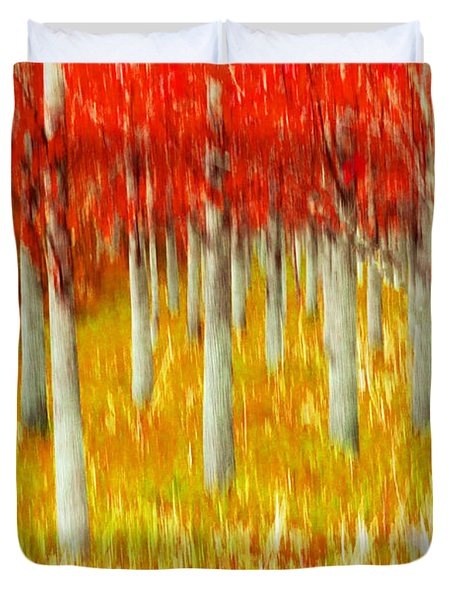 Poplars Duvet Cover by Michele Wright