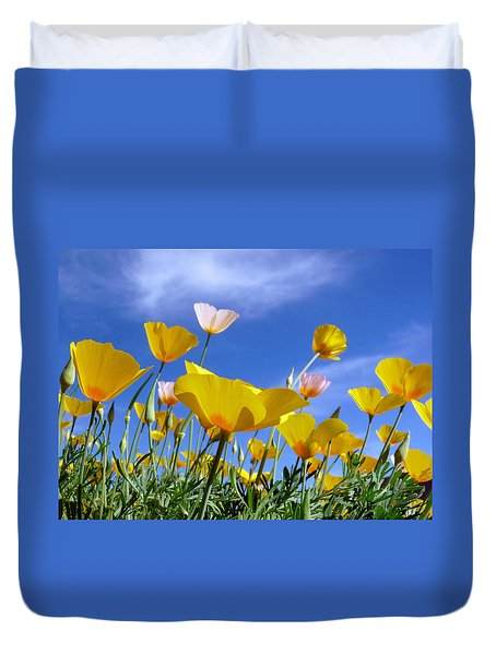 Poppies And Blue Arizona Sky Duvet Cover