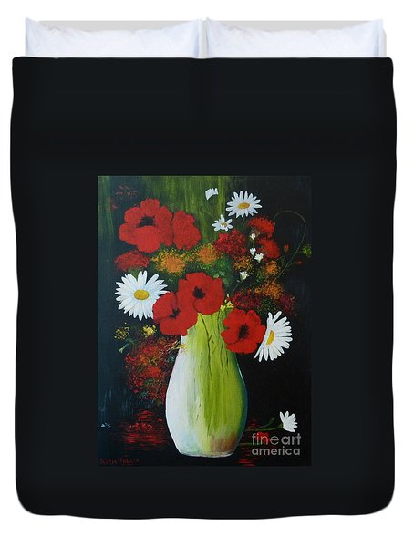 Poppies And Daisies Duvet Cover