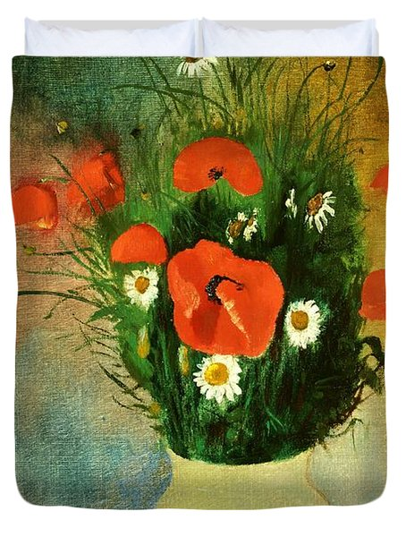 Poppies And Daisies Duvet Cover by Odilon Redon
