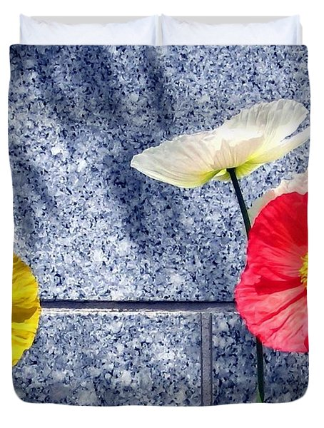 Poppies And Granite Duvet Cover