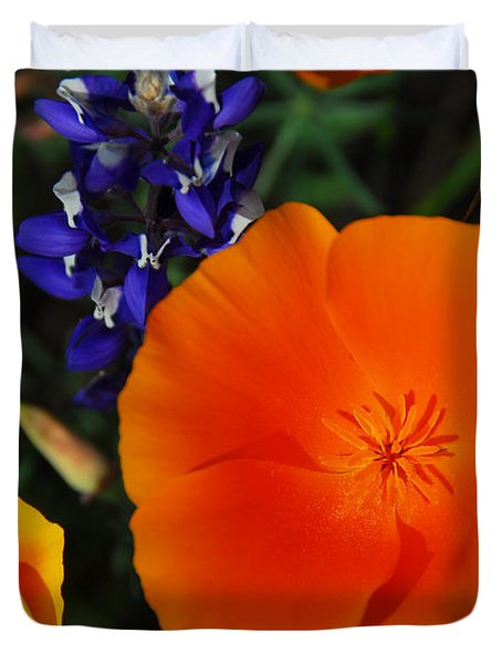 Poppies And Lupine Duvet Cover by Lynn Bauer