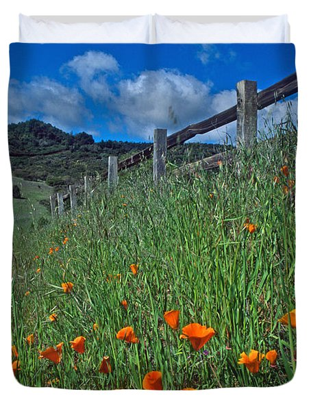 Poppies And The Fence Duvet Cover by Kathy Yates