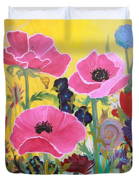 Duvet Cover featuring the painting Poppies And Time Traveler by Robin Maria Pedrero