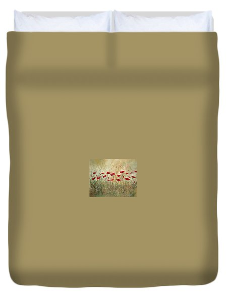 Duvet Cover featuring the painting Poppies And Wild Flowers by Dorothy Maier