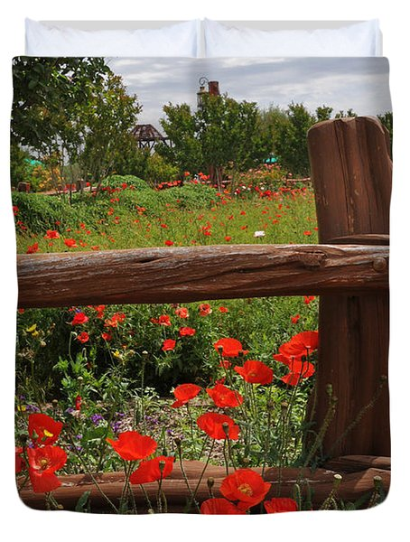 Poppies At The Farm Duvet Cover