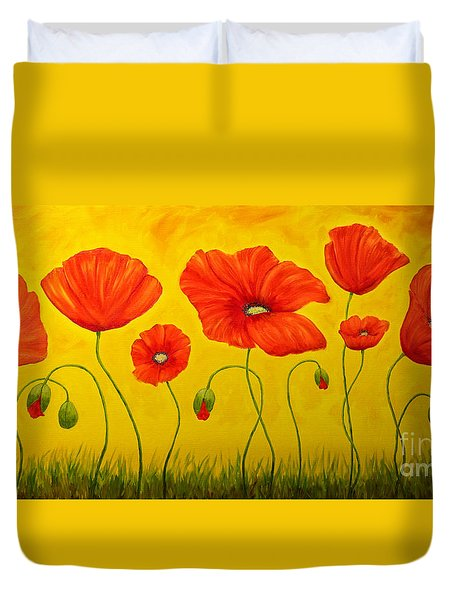 Poppies At The Time Of Duvet Cover by Veikko Suikkanen