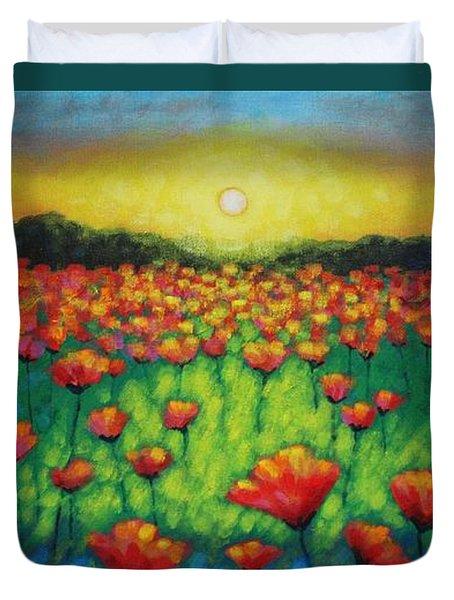 Poppies At Twilight Duvet Cover by John  Nolan