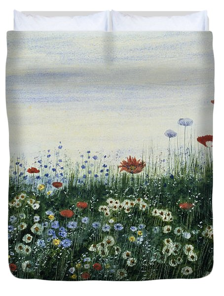 Poppies, Daisies And Other Flowers Duvet Cover