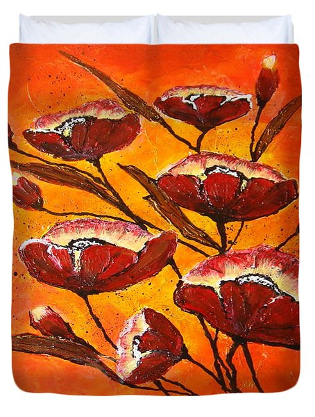 Poppies Duvet Cover by Elena  Constantinescu