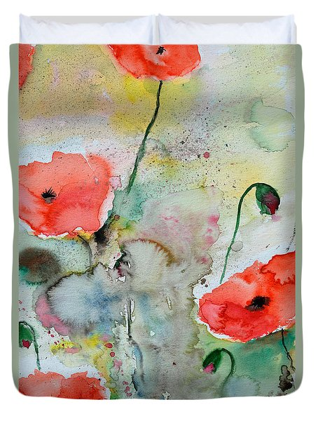 Poppies - Flower Painting Duvet Cover