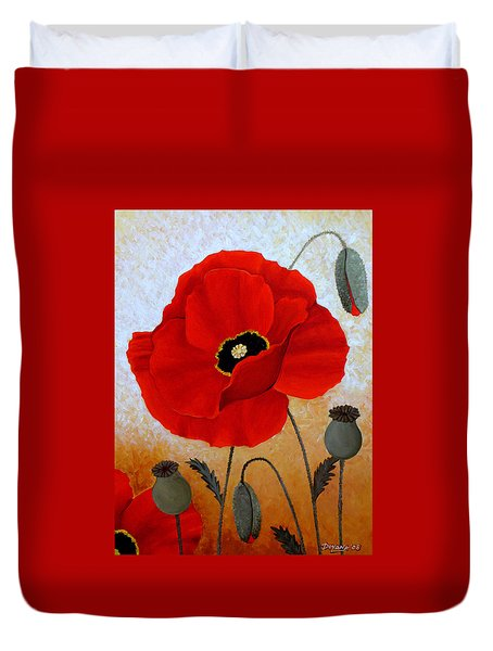 Poppies I Duvet Cover by Deyana Deco