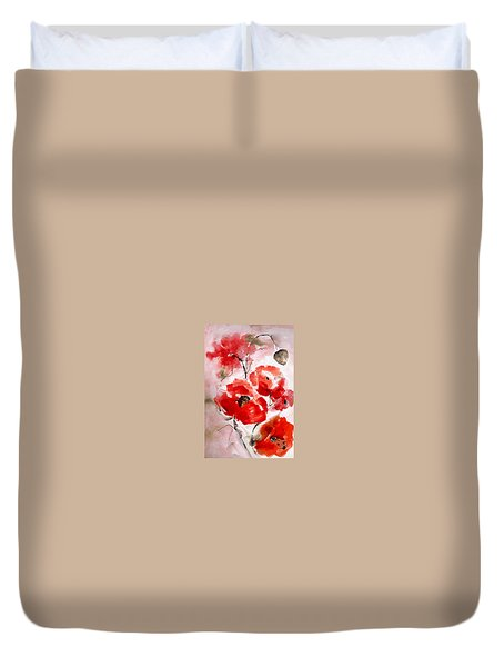 Poppies I Duvet Cover by Hedwig Pen