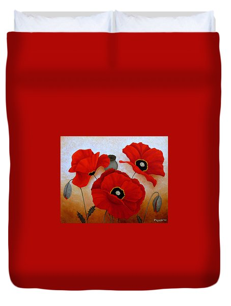 Poppies II Duvet Cover by Deyana Deco