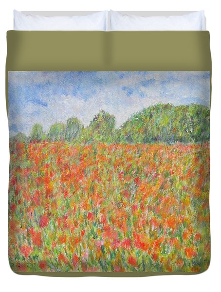 Poppies In A Field In Afghanistan Duvet Cover