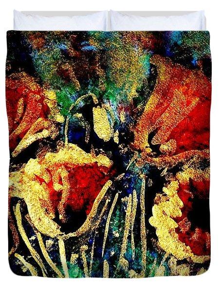 Poppies In Gold Duvet Cover by Zaira Dzhaubaeva