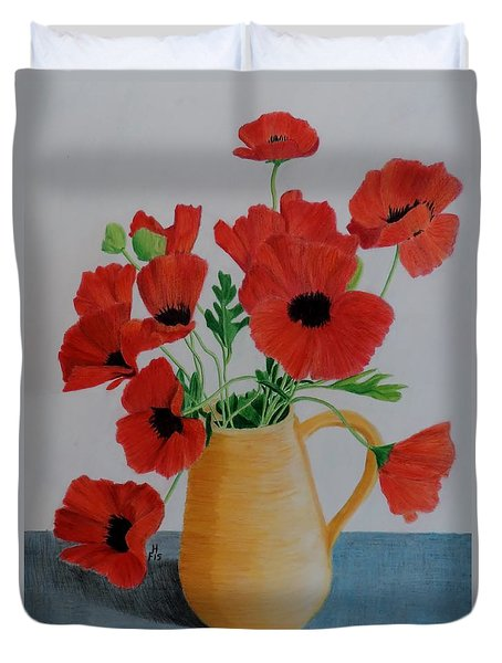 Poppies In Jug Duvet Cover