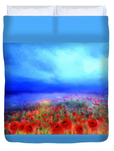 Poppies In The Mist Duvet Cover