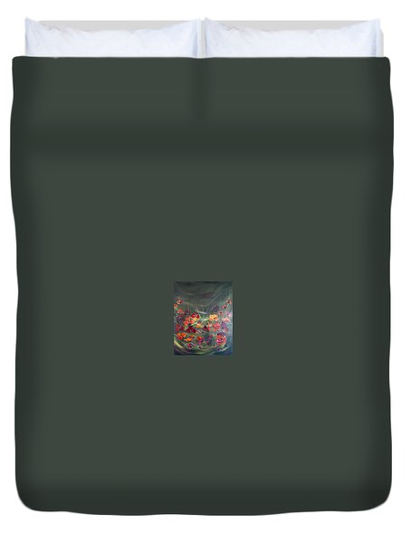 Duvet Cover featuring the painting Poppies In The Shadow by Dorothy Maier