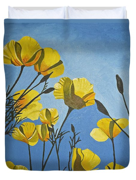 Poppies In The Sun Duvet Cover