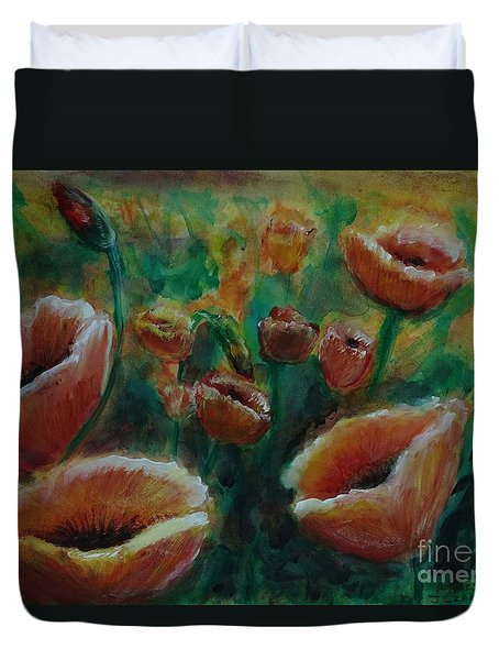 Duvet Cover featuring the painting Poppies by J L Zarek