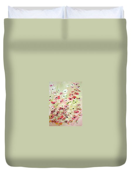 Duvet Cover featuring the painting Poppies Knife 2 by Dorothy Maier
