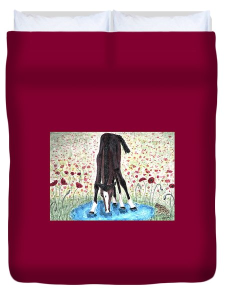 Duvet Cover featuring the painting Poppies N  Puddles by Angela Davies