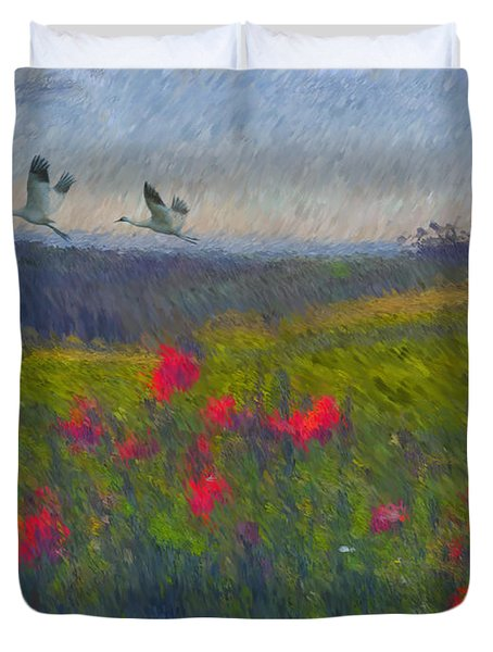 Poppies Of Tuscany Duvet Cover