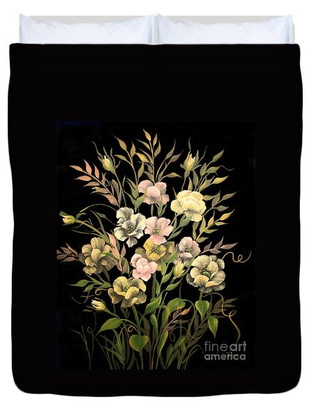 Poppies On Black Canvas Duvet Cover by Jimmie Bartlett