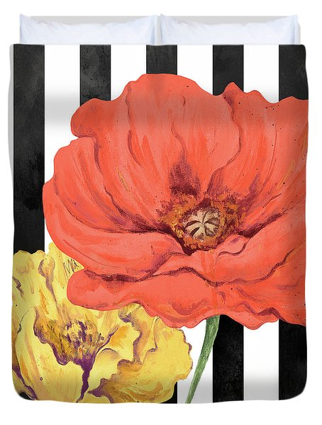 Poppies On Stripes II Duvet Cover