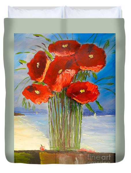Duvet Cover featuring the painting Poppies On The Window Ledge by Pamela  Meredith