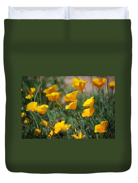 Duvet Cover featuring the photograph Poppies by Tam Ryan