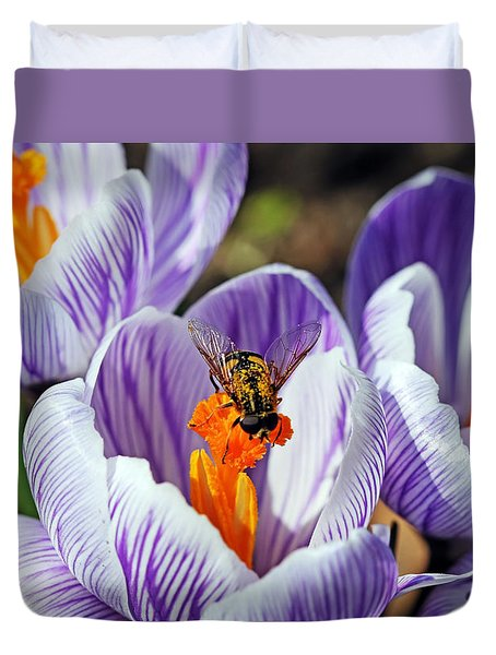 Duvet Cover featuring the photograph Popping Spring Crocus by Debbie Oppermann