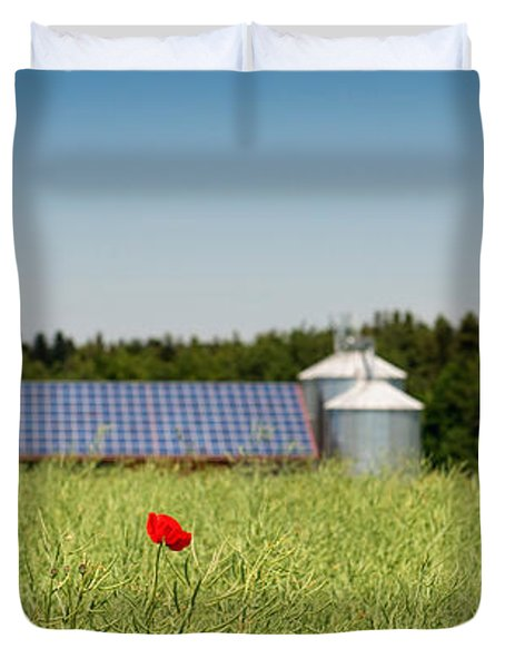 Poppy Flower In A Field And Barn Duvet Cover