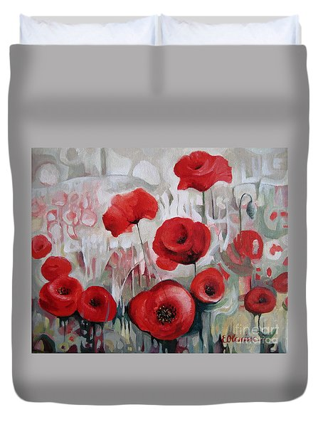Duvet Cover featuring the painting Poppy Flowers by Elena Oleniuc