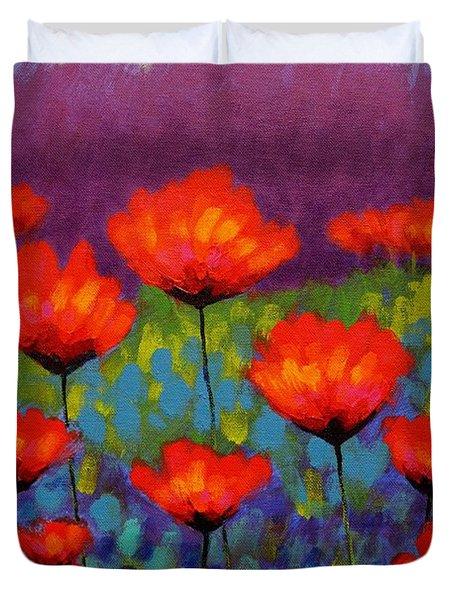 Poppy Meadow   Cropped Duvet Cover by John  Nolan