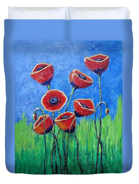 Duvet Cover featuring the painting Poppy Party by Suzanne Theis