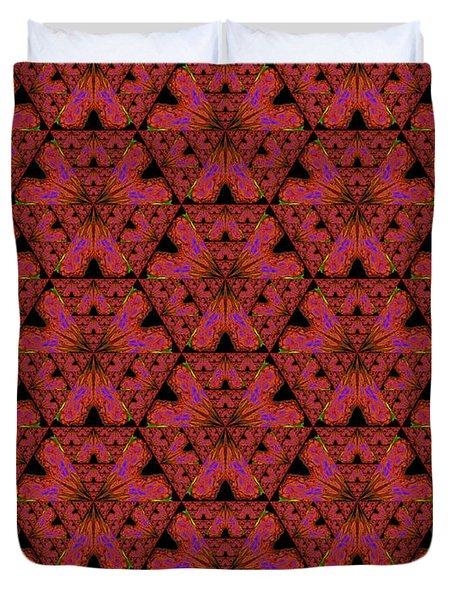 Poppy Sierpinski Triangle Fractal Duvet Cover