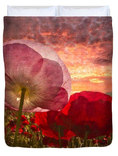 Poppy Sunrise Duvet Cover by Debra and Dave Vanderlaan